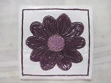 Handmade Ceramic Purple Flower Ridge Border Dainty Tile Hotplate Original Kids