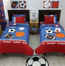 SPORTS DEPORTIVO KIDS BOYS CHIC REVERSIBLE COMFORTER SET 7 PCS QUEEN/FULL