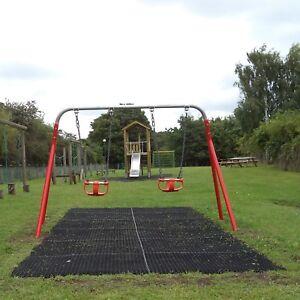 1 x Rubber Playground Swings Safety Mats Inc Fixing Pegs | 22mm Grass Matting
