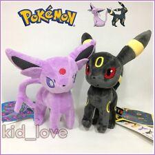 "2X Espeon & Umbreon Plush Pokemon Soft Toy Stuffed Animal Doll Teddy Figure 9"""