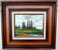 Original Framed Oil Painting Lake Landscape Signed A Lawrence
