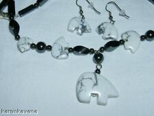 Howlite Bears on Hematite Necklace Earring Set 19""