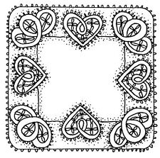 Unmounted Rubber Stamp Cute, Lace & Heart, Hearts Frame, Frames, Whimsical