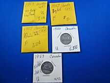 CANADA - LOT OF 5 - 5 CENT COINS - 1950 TO 1957    (skskcl2)