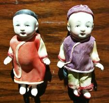 Antque vintage Japan bisque joined Japanese man & woman dolls cloth clothing