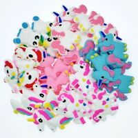 50pcs Mixed Unicorn Horse Shoe Charms Decorations For Wristbands Kids Gifts PVC