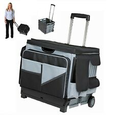 Teacher Cart Rolling Bag Scrapbooking Storage Folds Telescoping Handle Organizer