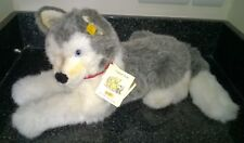 Steiff Molly Husky Dog 104916 Complete with Tags Button & Red Leather Collar