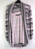 Almost Famous Women's Medium Cardigan and Cami Top Combination - Pink Striped