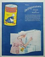 1920s Old Dutch Cleanser Can Woman Cleaning Refrigerator Art Vintage Print Ad