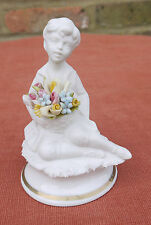 "Marcolin Capodimonte ""Boy Sitting with Basket of Flowers"" Figurine"