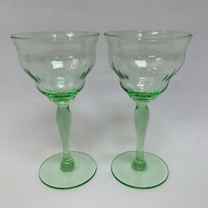 """Cordial Wine Glass Glasses Clear Vaseline? Panels 5 3/8"""" High Lot of 2"""
