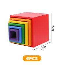 6pcs Square Wooden Rainbow Building Blocks DIY Educational Toys for Children