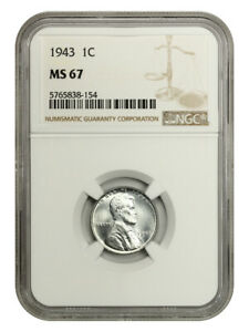 1943 1c NGC MS67 - WW2 Steel Cent - Lincoln Cent - WW2 Steel Cent