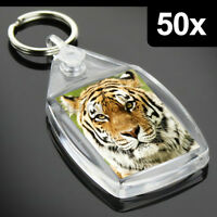 50x Clear Acrylic Blank Keyrings Key Fobs 35 x 24 mm | Small Size Photo