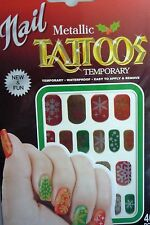 Metallic Christmas Temporary Nail Tattoos (40 Pieces)