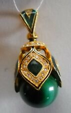 Russian Egg Faberge Pendant Malachite Stone Sterling silver enameled+Certificate