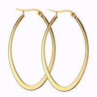 Stainless Steel Women Oval Teardrop Hypoallergenic Huggie Hoop Earrings