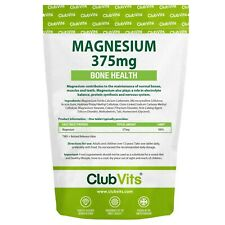 Magnesium | 375mg |365 Tablets | Bone Muscle Teeth Health Energy |  ClubVits