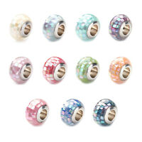 5x 304 Stainless Steel Resin European Beads Rondelle Metal Large Hole Beads 12mm
