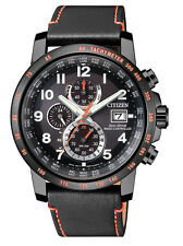 CITIZEN Eco Drive AT8125-05E black Herrenuhr Chronograph Chrono Leder schwarz