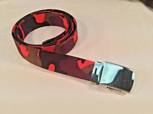 "New, Men's, Orange Blaze Camouflage Nylon Web Belt 1.25"" X 42"", Made in the USA"