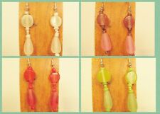4 Pairs Handmade Beaded Simple Teardrop Glass Resin  Earring Party Mix WHOLESALE