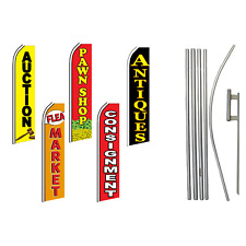 Thrift Advertising Swooper Flutter Feather Flag Kit Flea Market Consignment Pawn