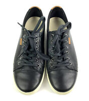 ECCO Womens Size 7 Sneaker Soft VII 7 Black Leather Lace Up Comfort Shoe