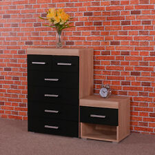 4+2 Chest of Drawers & Bedside Table in Black & Sonoma Oak Bedroom Furniture 6