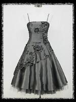 dress190 GREY 50s FLOCK TATTOO ROCKABILLY COCKTAIL PARTY WEDDING PROM DRESS 8-26