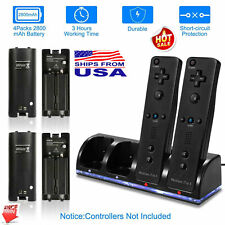 2/4 Charger + 2/4Pack Rechargeable Batteries for Nintendo Wii Remote  Controller
