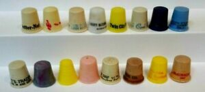 """Vintage Advertising Thimbles Collection 16pcs-ALl about 1"""" tall,Plastic 1950s-60"""