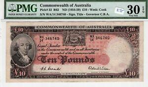 Australia 1954-59 10 Pounds PMG Certified Banknote Very Fine 30 EPQ Pick 32 R62