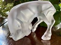 Lalique Auroch Taureau Bull in Frosted Crystal, Mint, Signed Retail $1,335