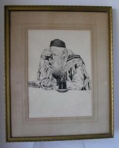 "1940 Etching ""Rabbi Studying"" framed 17"" x 21"" matted signed ""Sam"""
