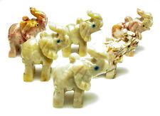 CARVED - Tan DOLOMITE ELEPHANT Spirit Animal Totem w/Card- Healing Reiki Stone