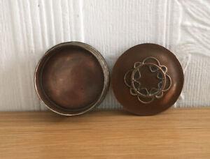 Vintage Antique Metal Pot Copper? Bullet Style Decorative Trinket Pot Lid(J1U)