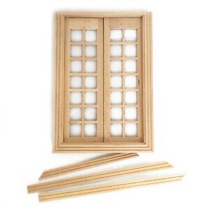 Dollhouse Furniture Wooden 28 Pane Double Door 1:12 Miniature DIY Accessories