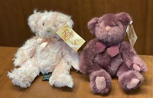 "Russ Berrie Plush Teddy Bear #4038 ISABELLA (7"") and TEDDY (6""), the Purple Bear"