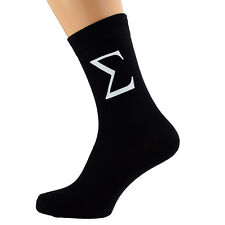 Cool Sigma Greek Letter Design Mens Black Socks UK Size 5-12 X6N066