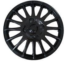 "13"" Race Sport Black Car Wheel Trim Hub Cap Covers Multi-Spoke + Valve Caps"