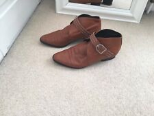 Italian Tan Leather Boots Size 3.5-4