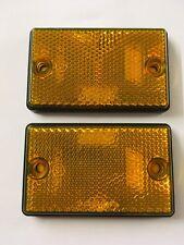 Oblong Amber Self Adhesive Reflectors (1 Pair) 75mm x 45mm