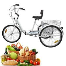 "Blanc 24"" 3-roues tricycle adulte tricycle 6-Speed vélo Trike Cruise W/basket"