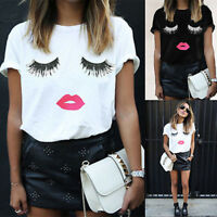 New Fashion Womens Summer Eyelash Summer Loose Tops Short Sleeve Blouse T Shirt