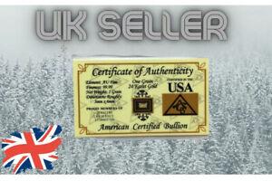 x1 GRAIN SOLID GOLD 24K BULLION ACB MINTED BAR 99.99 FINE W/ CERT AUTHENTICITY +