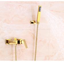 Modern Waterfall Wall-Mount BathTub Filler Mixer Tap Faucet&Handshower Gold