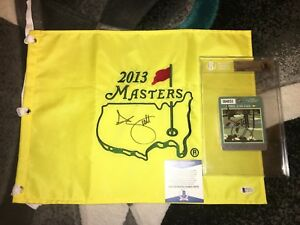 Adam Scott Signed 2013 Masters Flag And Masters Badge Beckett Authentic
