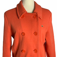Vintage Lacoste Knit Peacoat Jacket 46 Coral Double Breasted Buttons Pockets